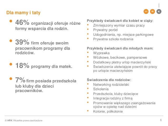 © HRK Wszelkie prawa zastrzeżone Dla mamy i taty • 46% organizacji oferuje różne formy wsparcia dla rodzin. • 39% firm ofe...