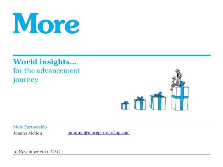 World insights…for the advancementjourneyMore PartnershipJoanna Motion          jmotion@morepartnership.com10 November 201...