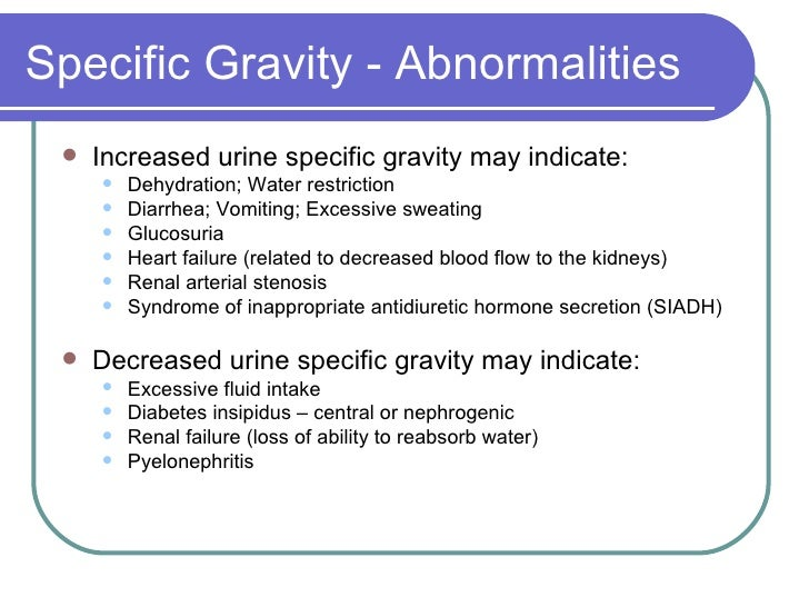 relationship between volume and specific gravity in urine