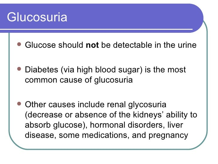 Glucosuria <ul><li>Glucose should  not  be detectable in the urine </li></ul><ul><li>Diabetes (via high blood sugar) is th...