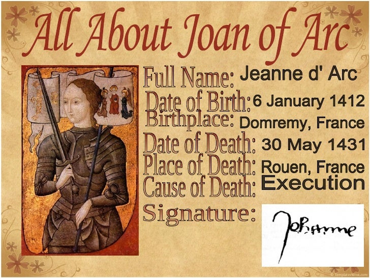 a biography of saint joan of arc A short biography of saint joan of arc saint joan was born on january 6, 1412, in the village of domremy to jacques and isabelle d'arc joan was the youngest of their five children while growing up among the fields and pastures of her village, she was.