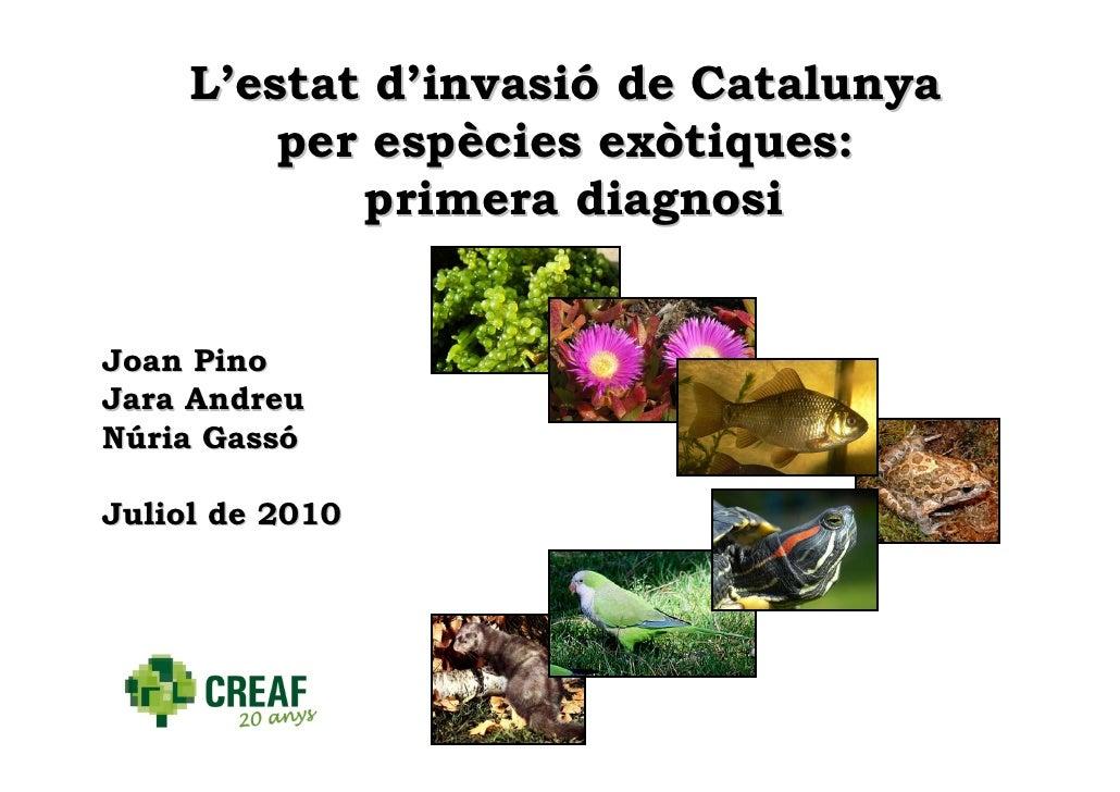 L'estat d'invasió de Catalunya          per espècies exòtiques:             primera diagnosi   Joan Pino Jara Andreu Núria...
