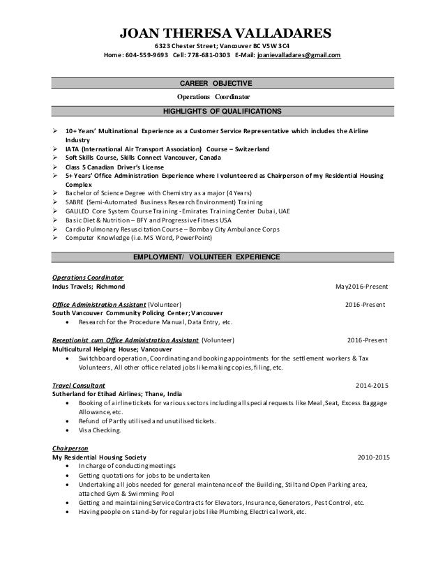 operations coordinator resume manager resume summary by manager