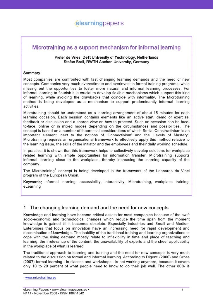 Microtraining as a support mechanism for informal learning                        Pieter de Vries, Delft University of Tec...