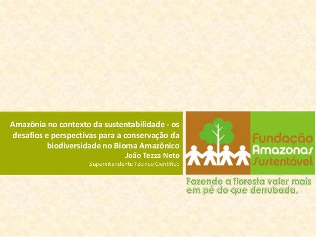 Amazônia no contexto da sustentabilidade - osdesafios e perspectivas para a conservação da          biodiversidade no Biom...