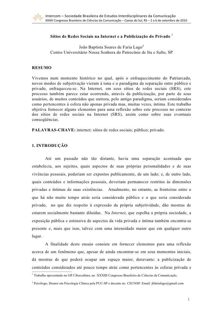 Intercom – Sociedade Brasileira de Estudos Interdisciplinares da Comunicação           XXXIII Congresso Brasileiro de Ciên...