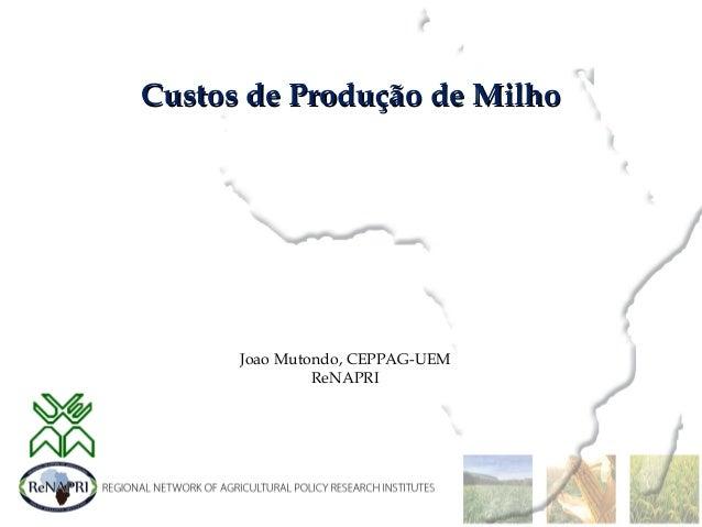 Custos de Produção de MilhoCustos de Produção de Milho Joao Mutondo, CEPPAG-UEM ReNAPRI