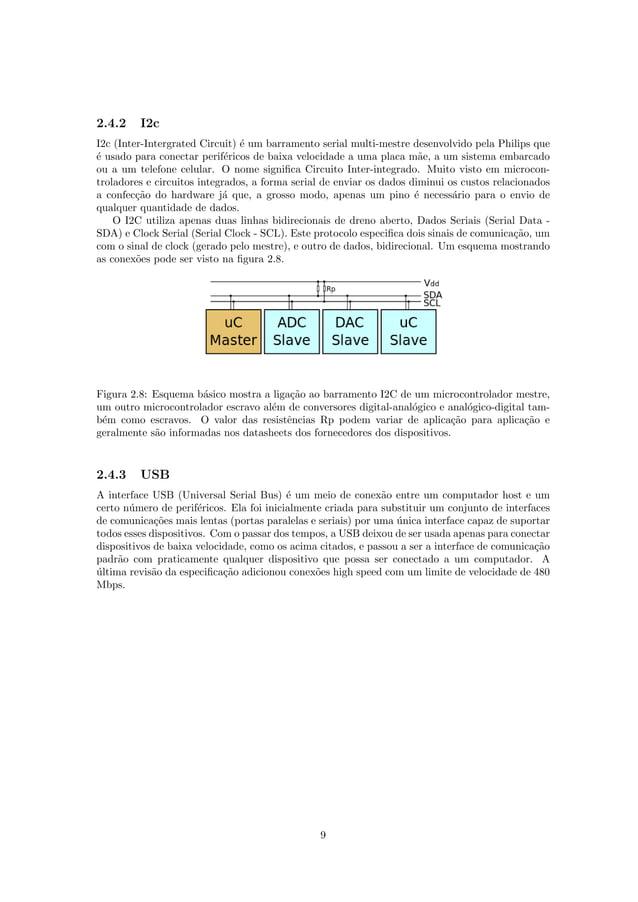2.4.2 I2c I2c (Inter-Intergrated Circuit) ´e um barramento serial multi-mestre desenvolvido pela Philips que ´e usado para...