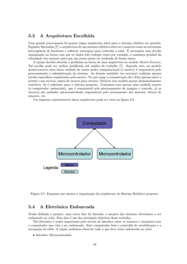 3.3 A Arquitetura Escolhida Uma grande preocupa¸c˜ao foi pensar numa arquitetura ideal para o sistema rob´otico em quest˜a...