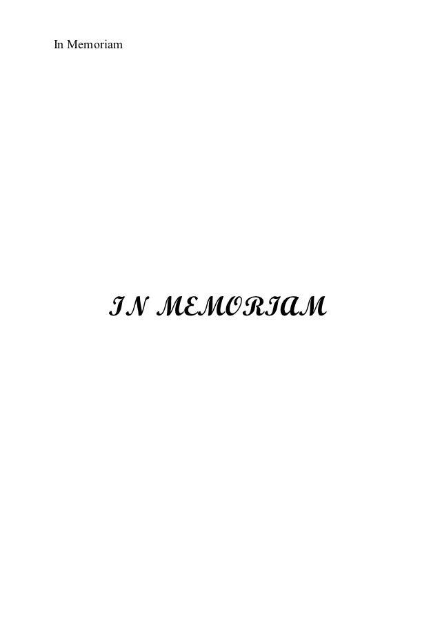 In Memoriam        IN MEMORIAM