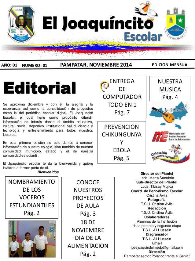 Periodico escolar el joaquincito escolar for Ejemplo de una editorial de un periodico mural