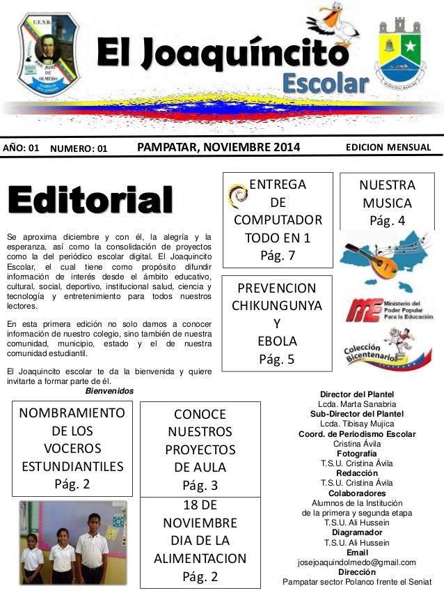 Periodico escolar el joaquincito escolar for Editorial de un periodico mural