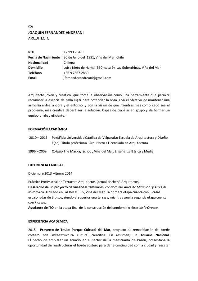cv joaqun fernndez andreani arquitecto rut 17993754 9 fecha de nacimiento 30 de