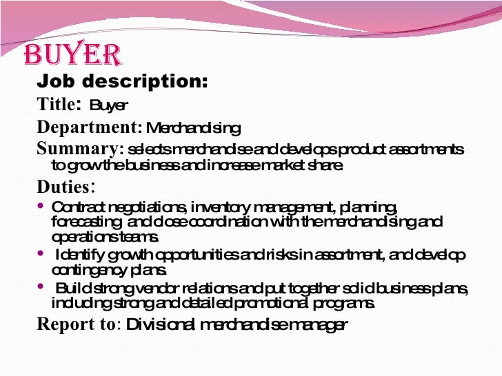 job specification 6 - Job Description For Merchandiser