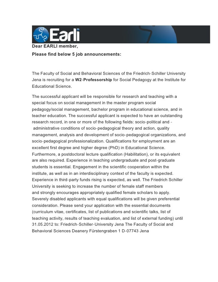 Dear EARLI member,Please find below 5 job announcements:The Faculty of Social and Behavioral Sciences of the Friedrich‐Sch...