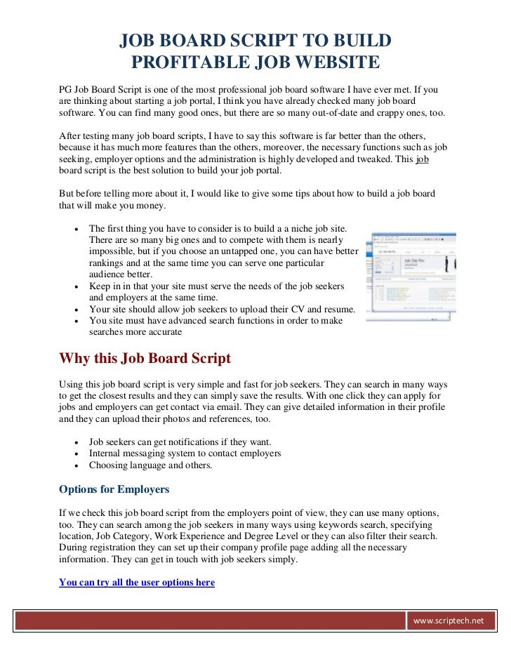 JOB BOARD SCRIPT TO BUILD                PROFITABLE JOB WEBSITEPG Job Board Script is one of the most professional job boa...