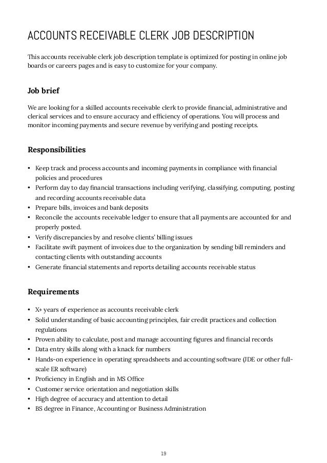 ... Accounting Or Business Administration; 19. 19 ACCOUNTS RECEIVABLE CLERK  JOB DESCRIPTION ...  Administrative Clerk Job Description