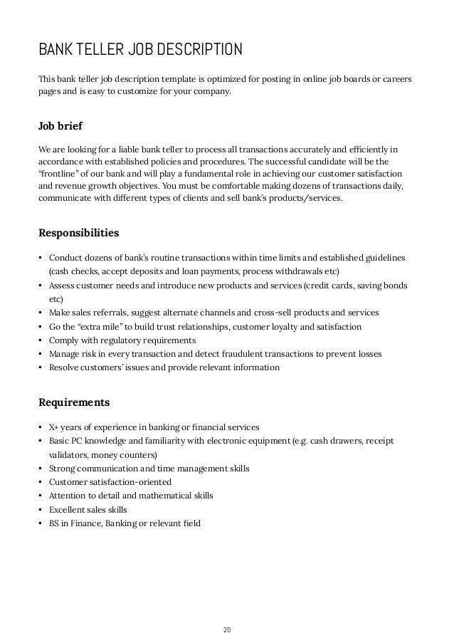... Accounting Or Business Administration; 20. 20 BANK TELLER JOB  DESCRIPTION ...  Bank Teller Job Description