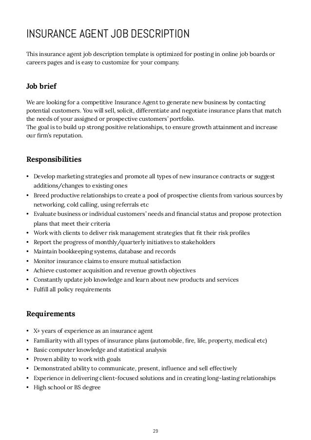 ... 29. 29 INSURANCE AGENT JOB DESCRIPTION ...