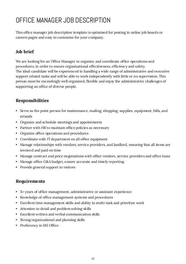 office manager job description samples