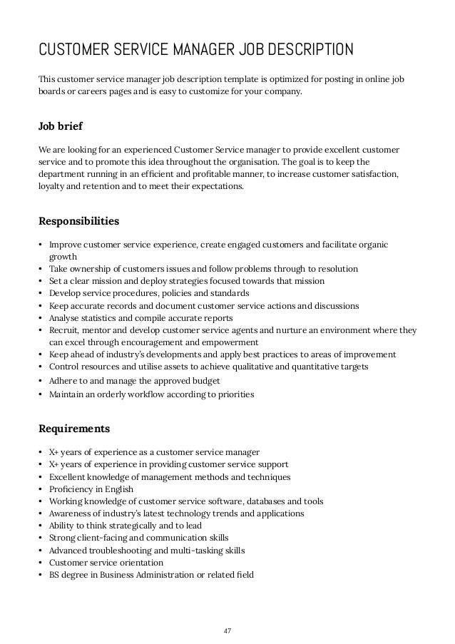 Manager Customer Service Job Description  Plan
