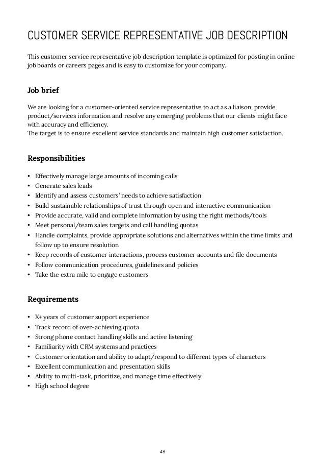 job duties customer service representative resume with customer relations job description - Customer Service Representative Job Description Resume