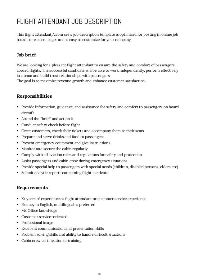 How to Write Job Descriptions – Flight Attendant Job Description