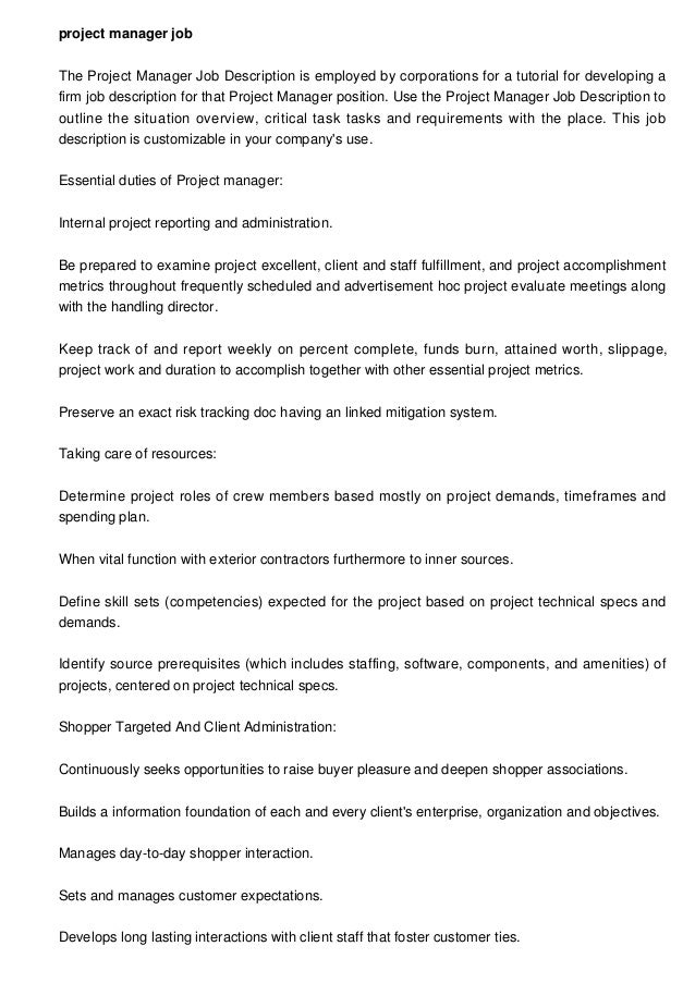 project manager job The Project Manager Job Description is employed by corporations for a tutorial for developing a firm j...