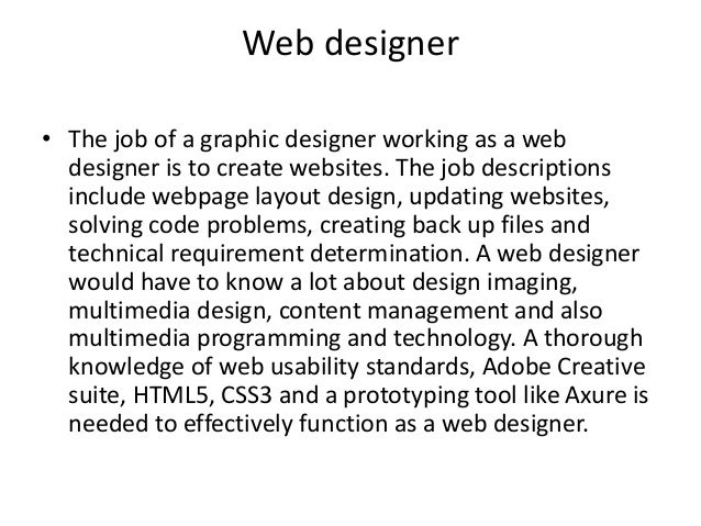 Job Descriptions Of A Graphic Designer