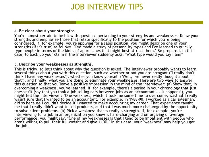 interview tips strengths and weaknesses