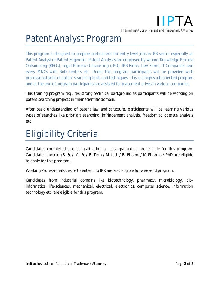 IIPTA Indian Institute Of Patent And Trademark AttorneyPatent Analyst  ProgramThis Program Is Designed To Prepare Participants For Entry Level  Jobs In IPR ...