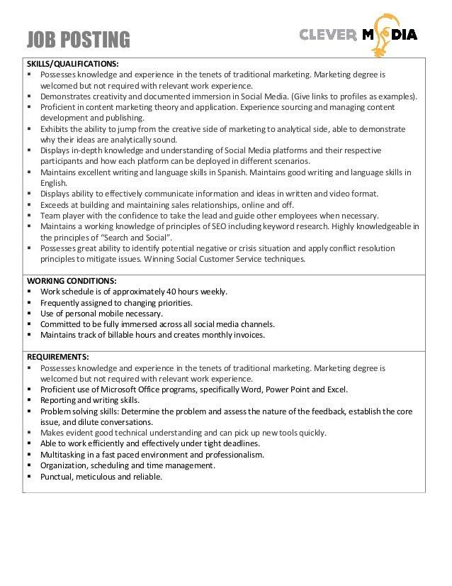 JOB POSTING 2 SKILLS/QUALIFICATIONS: ...