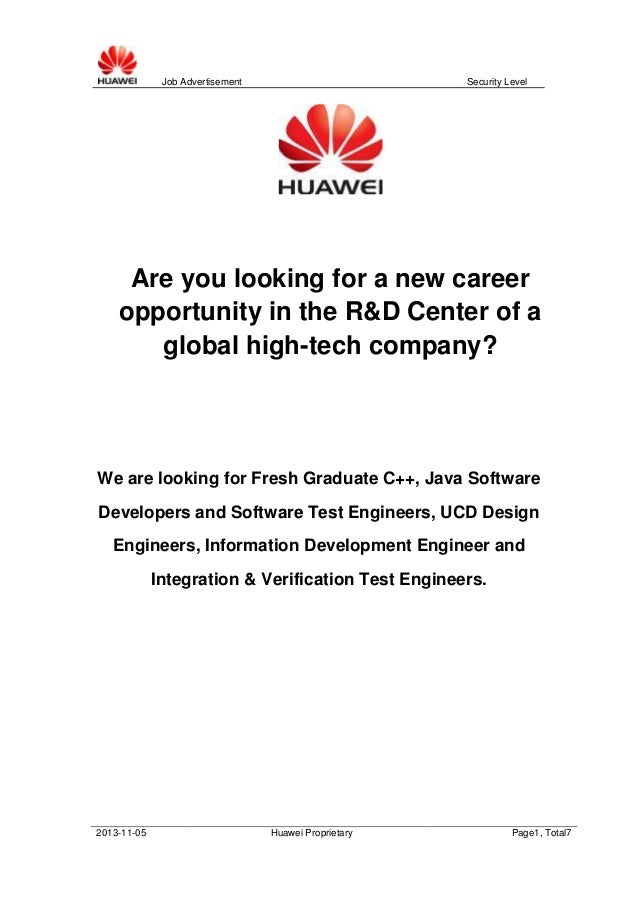 Job Advertisement  Security Level  Are you looking for a new career opportunity in the R&D Center of a global high-tech co...