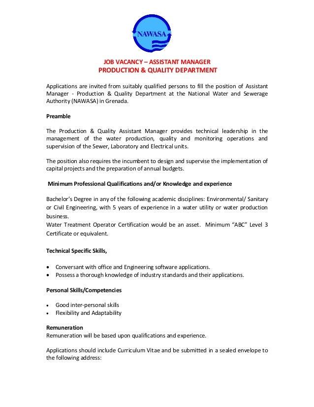 nawasa job vacancy � assistant manager production