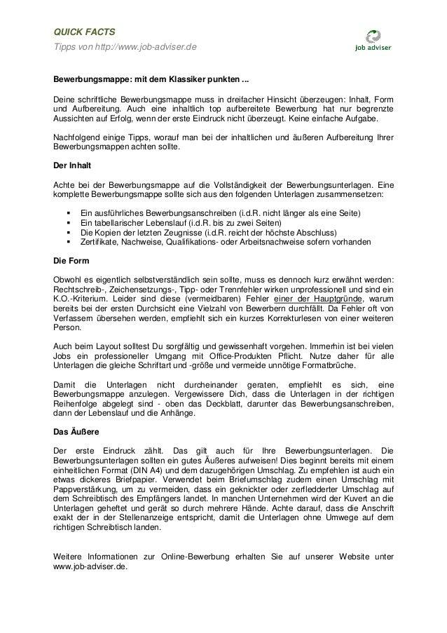 Job Adviser Tipps Zur Bewerbungsmappe