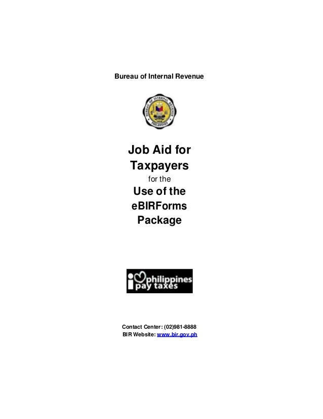 Job aid for taxpayers how to use the e bir-forms package