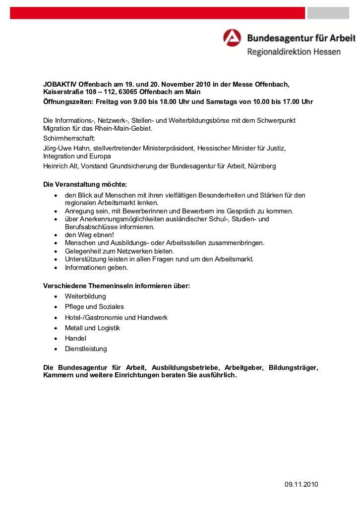 JOBAKTIV Offenbach am 19. und 20. November 2010 in der Messe Offenbach,Kaiserstraße 108 – 112, 63065 Offenbach am MainÖffn...