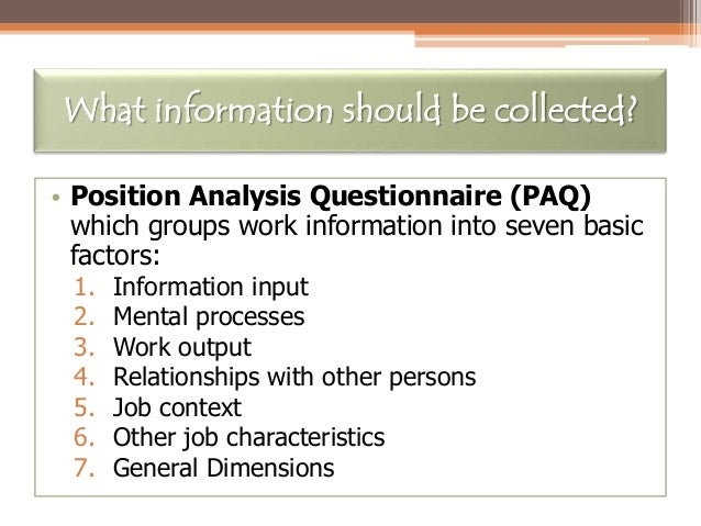 13 what information should be collected position analysis questionnaire