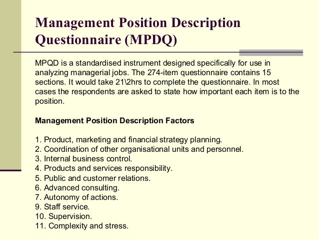 J ob analysis for Position description questionnaire template