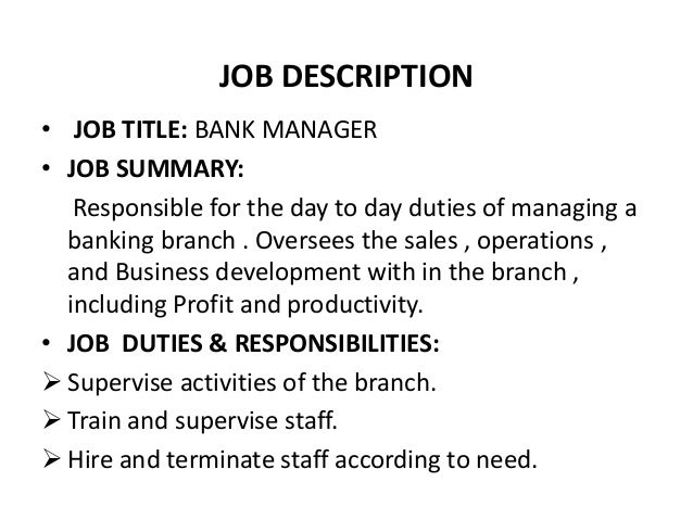 Bank Manager Job Description  BesikEightyCo