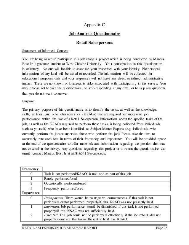 Job Analysis Report Retail Salesperson