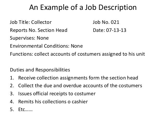 Lovely ... Responsibilities Of The Jobholder; 22. Within Collector Job Description
