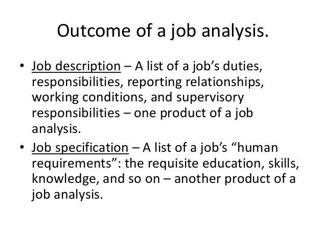 outcomes of job analysis