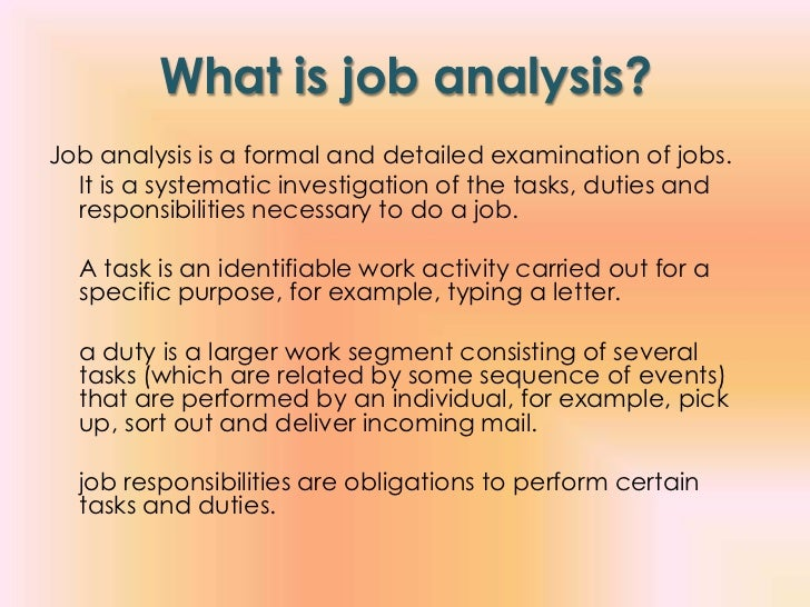 Job Analysis Example  Ex