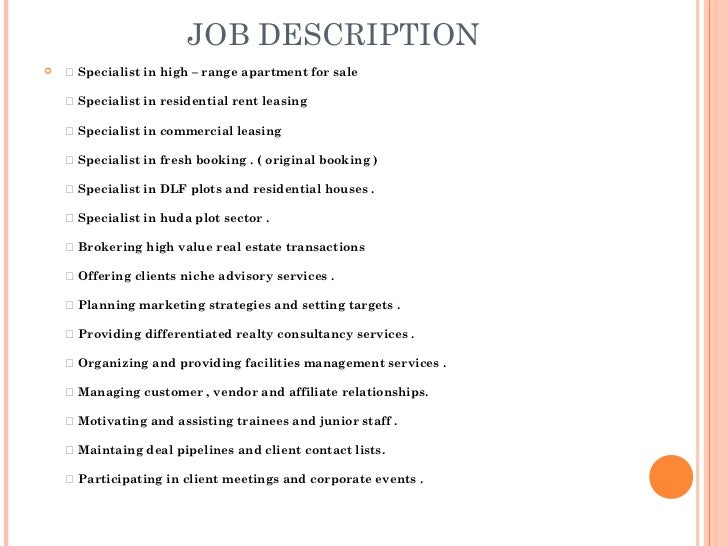 Job Analysis Real Estate
