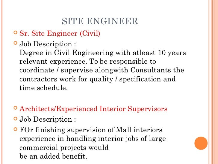 Exceptional 13. SITE ENGINEER Sr. Site Engineer (Civil) Job Description ...