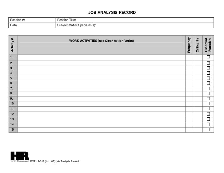 JOB ANALYSIS RECORDPosition #:                         Position Title:Date:                               Subject Matter S...