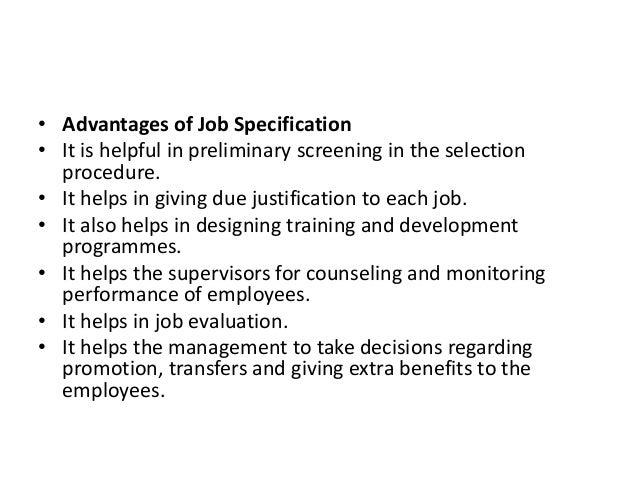 benefits of job specification
