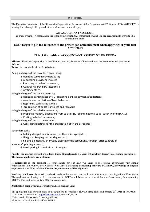 Job Announcement Accountant Assistant Of Roppa