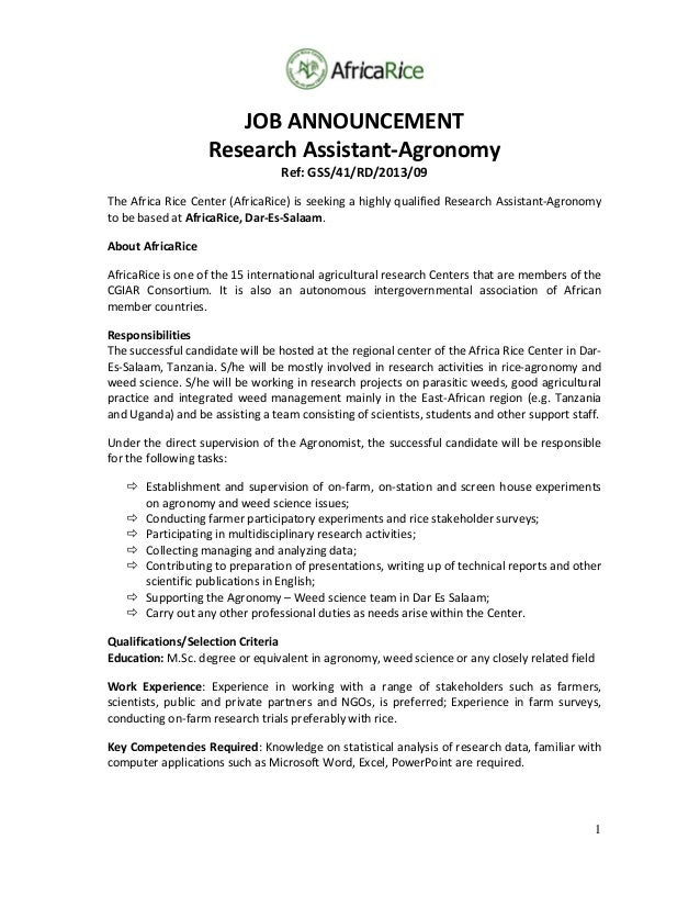 1 JOBANNOUNCEMENT ResearchAssistant‐Agronomy Ref:GSS/41/RD/2013/09 TheAfricaRiceCenter(AfricaRice)isseekinga...